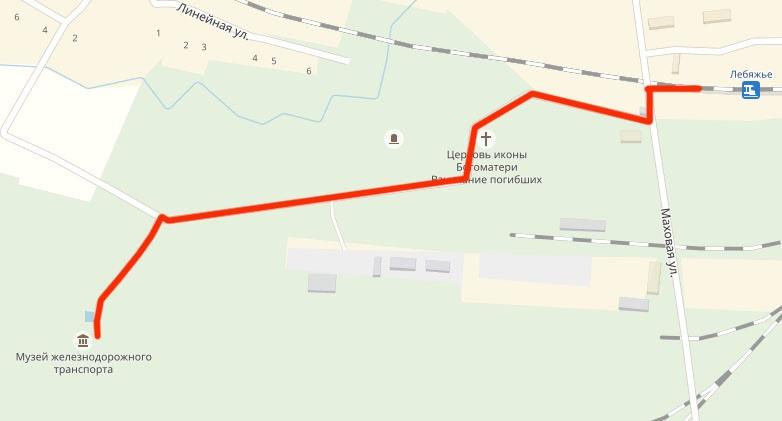 Схема прохода к фондовой площадке от ж\д станции Лебяжье